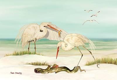 Herons Fishing Poster