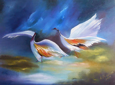 Herons On The Lake Original Modern Oil Painting With Birds Handmade Poster