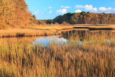 Herring River Cape Cod Marsh Grass Autumn Poster by John Burk