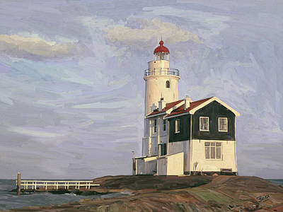 Poster featuring the painting Het Paard Light House by Nop Briex