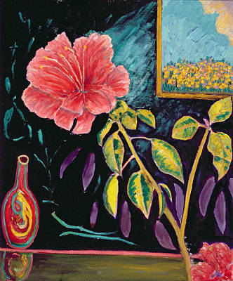 Hibiscus With Vase Poster by Patricia Eyre