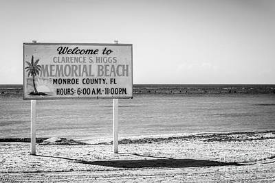 Higgs Beach Sign - Key West - Black And White Poster by Ian Monk