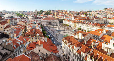 High Angle View Of The Rossio Square Poster by Panoramic Images