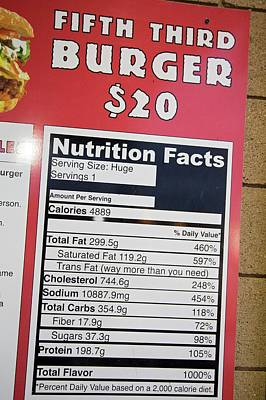 High Calorie Burger On Sale Poster by Jim West
