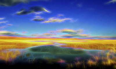 Poster featuring the digital art High Desert Lake by William Horden