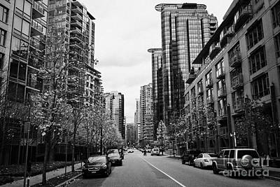 high rise apartment condo blocks in the west end west pender street Vancouver BC Canada Poster
