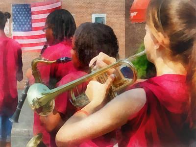 High School Band At Parade Poster