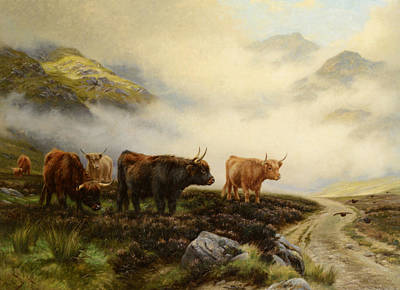 Highland Cows In A Pasture Poster by Wright Barker
