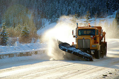 Highway Snow Plow In Winter Poster by Richard Wright