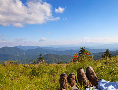 Hikers With A View On Round Bald Near Roan Mountain Poster