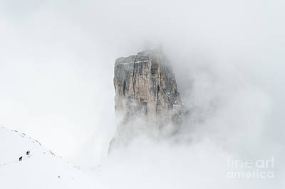 Hiking The Tre Cime In Winter Poster