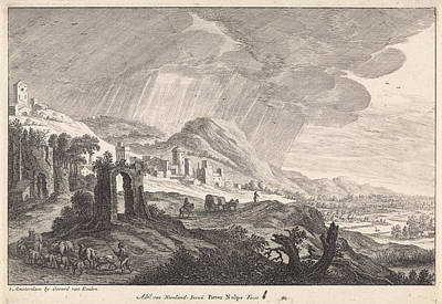 Hill Landscape With Ruins, Pieter Nolpe, Gerard Van Keulen Poster by Pieter Nolpe And Gerard Van Keulen