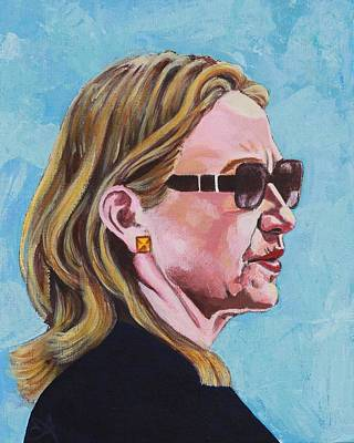 Hillary Rodham Clinton Portrait Behind Shades Poster