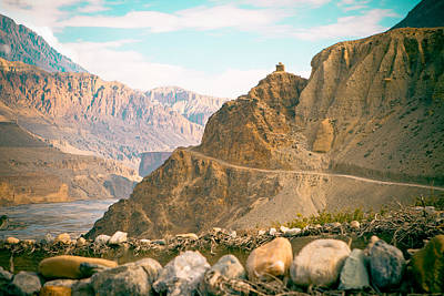 Himalayas Road To Upper Mustang View From Kagbeni Poster by Raimond Klavins