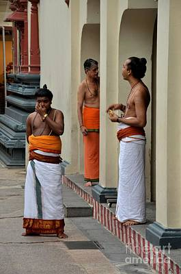Hindu Priests Relax After Morning Rituals Singapore Poster by Imran Ahmed