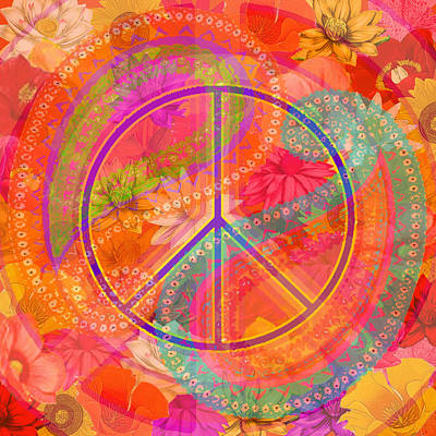 Hippie Chic Paisley Flowers Peace Poster by Andrea Ribeiro