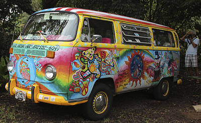 Vintage 1960's Vw Hippie Bus Poster by Venetia Featherstone-Witty