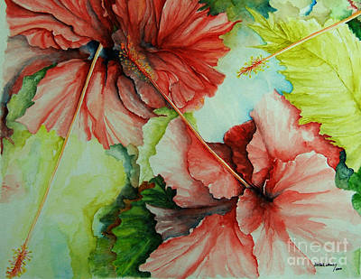 Poster featuring the painting Hiroko's Hibiscus by Rachel Lowry