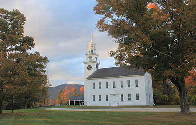 Historic Jaffrey Meetinghouse And Mount Monadnock Early Autumn Poster by John Burk