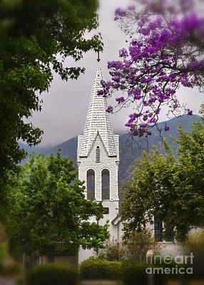 Historic Old White Wooden Church With Towering Steeple Among The Trees Poster by Jerry Cowart