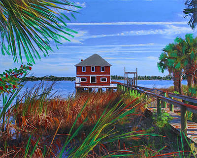 Poster featuring the mixed media Historic Ormond Boathouse by Deborah Boyd