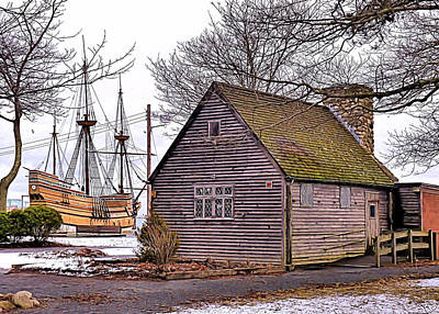 Historic Plymouth Ma Harbor Poster by Janice Drew