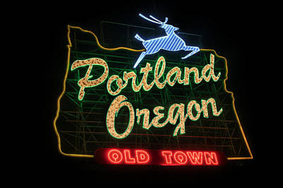Historic Portland Oregon Old Town Sign Poster