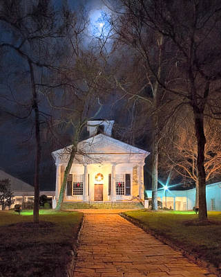 Historic Roswell Presbyterian Church By Night Poster