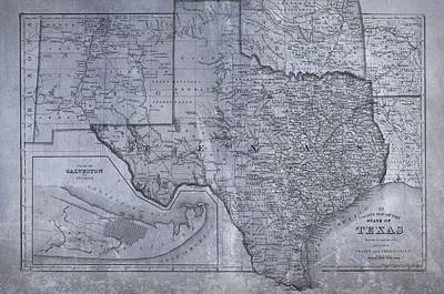 Historic Texas Map Poster by Dan Sproul