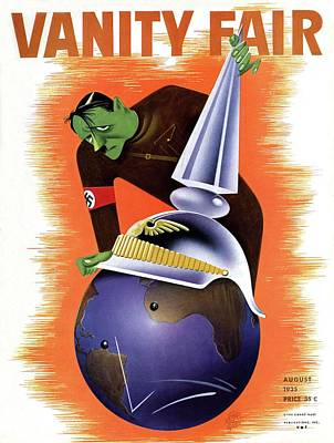 Hitler Holding A Helmet Over A Globe Poster by Paolo Garretto