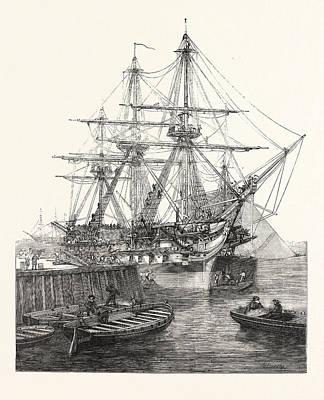 H.m. Screw Line-of-battle Ship Caesar 90 At Portsmouth Uk Poster