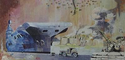 Hms Illustrious Malta Poster by Ray Agius