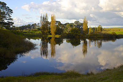 Autumn At Hobbiton Lake New Zealand Poster by Venetia Featherstone-Witty