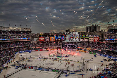 Hockey At Yankee Stadium Poster by David Rucker