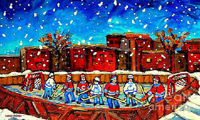 Hockey Collectible Art Cards And Prints A Snowy Day At The Neighborhood Rink Verdun Montreal Art Poster by Carole Spandau