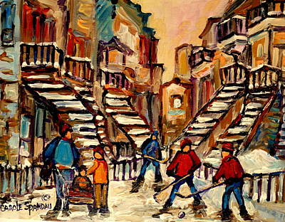 Hockey Game Near Winding Staircases Montreal Streetscene Poster by Carole Spandau