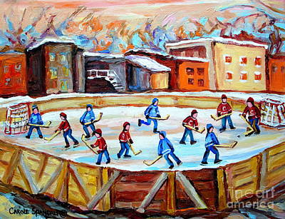 Hockey In The City Outdoor Hockey Rink Montreal Memories Winter City Scenes Painting Carole Spandau  Poster by Carole Spandau