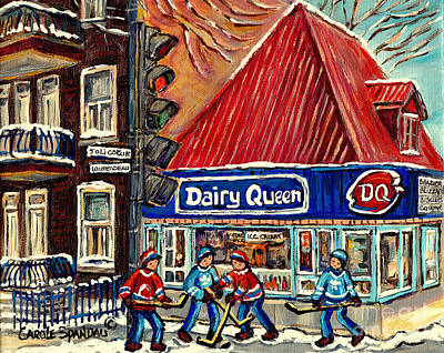 Hockey Near The Ice Cream Shop In Verdun Montreal Paintings By Carole Spandau Poster