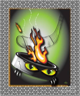 Hockey Puck In Flames Poster