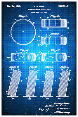 Hockey Puck Patent Blueprint Drawing Poster