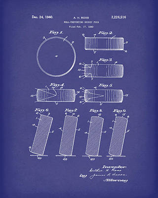Hockey Puck Patent Art Blue Poster