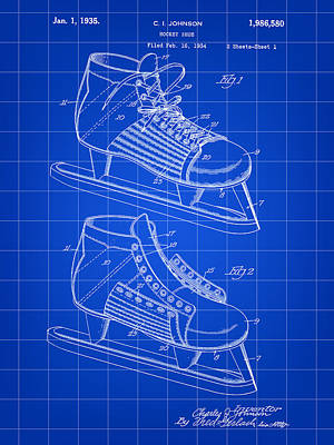 Hockey Shoe Patent 1934 - Blue Poster