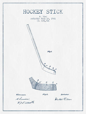 Hockey Stick Patent Drawing From 1901 - Blue Ink Poster by Aged Pixel