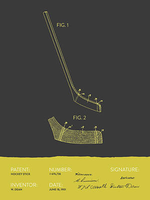 Hockey Stick Patent From 1901 - Gray Yellow Poster by Aged Pixel