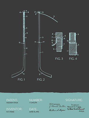 Hockey Stick Patent From 1915 - Gray Blue Poster by Aged Pixel