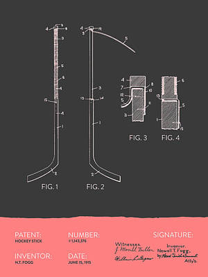 Hockey Stick Patent From 1915 - Gray Salmon Poster by Aged Pixel