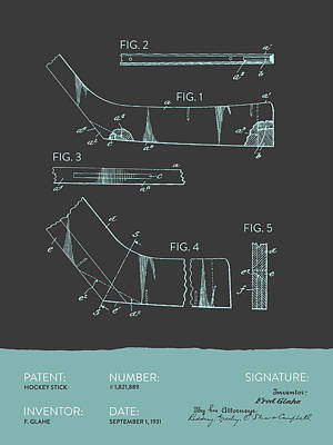 Hockey Stick Patent From 1931 - Gray Blue Poster by Aged Pixel