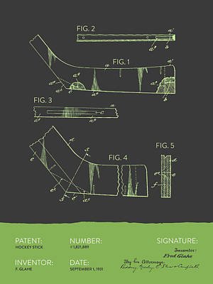 Hockey Stick Patent From 1931 - Gray Green Poster by Aged Pixel