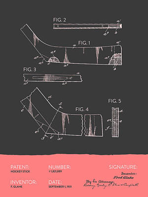 Hockey Stick Patent From 1931 - Gray Salmon Poster by Aged Pixel