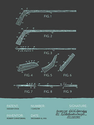 Hockey Stick Patent From 1935 - Gray Blue Poster by Aged Pixel